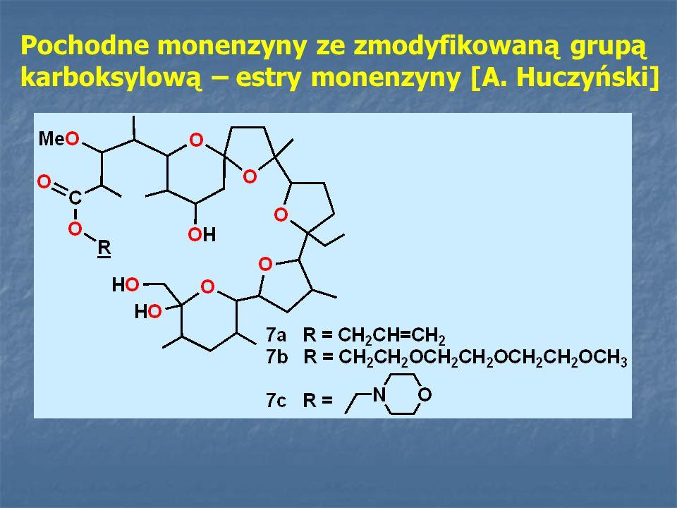 Pochodne monenzyny ze zmodyfikowaną grupą karboksylową – estry monenzyny [A. Huczyński]